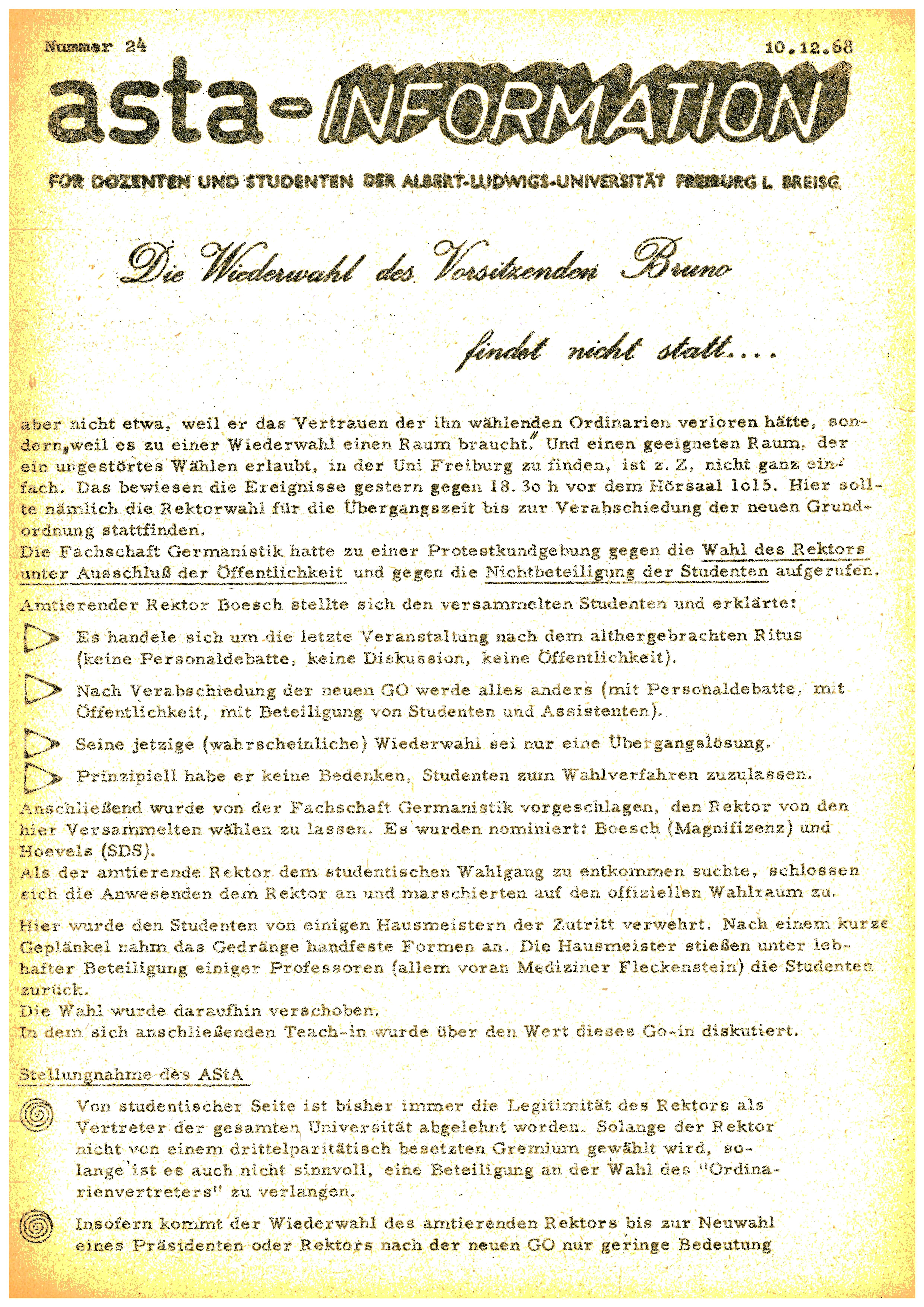 Abb. 3: UAF B47/259. asta-Information für Dozenten und Studenten Nummer 24, 10.12.1968 (Seite 1)