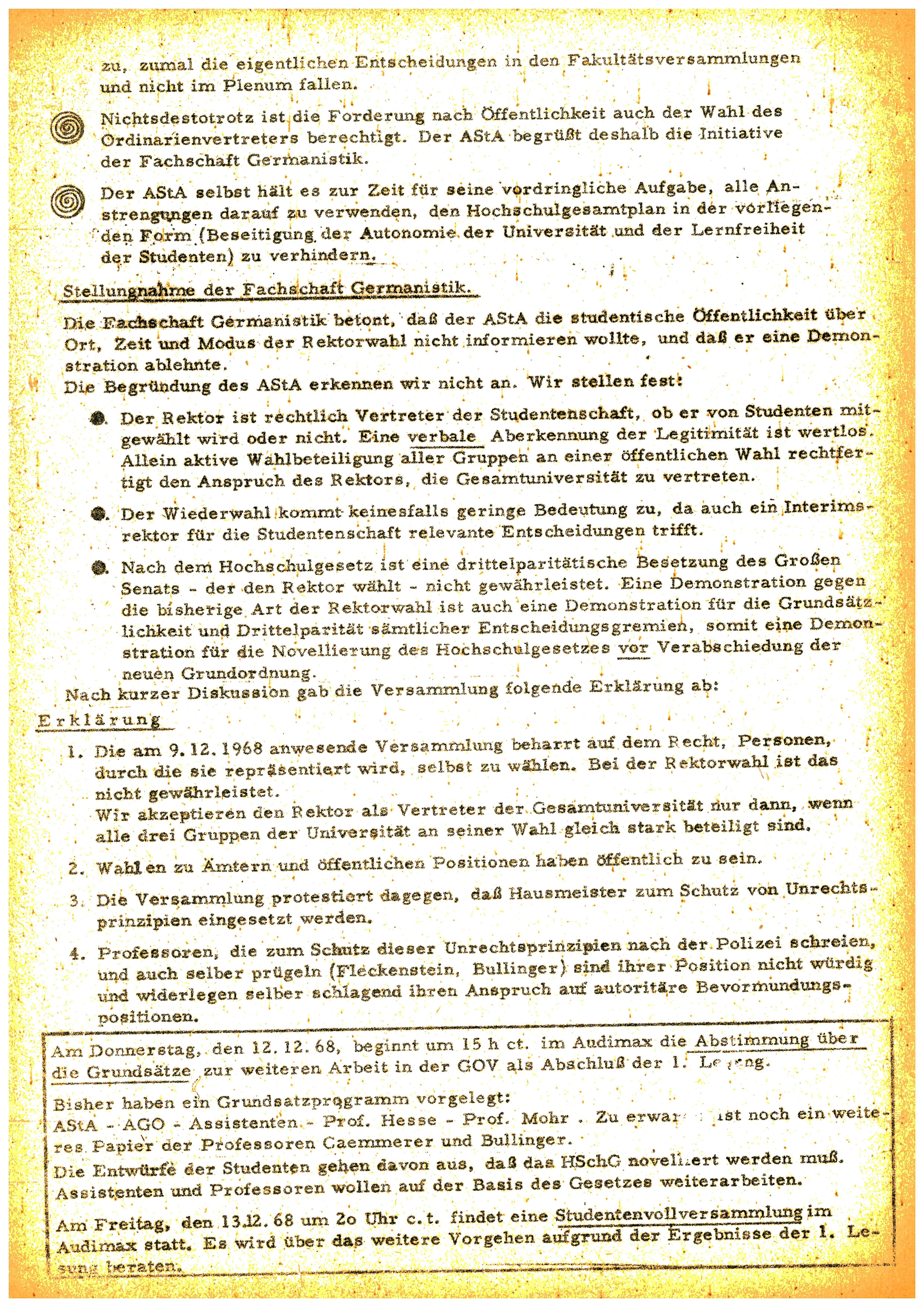 Abb. 4: UAF B47/259. asta-Information für Dozenten und Studenten Nummer 24, 10.12.1968 (Seite 2)