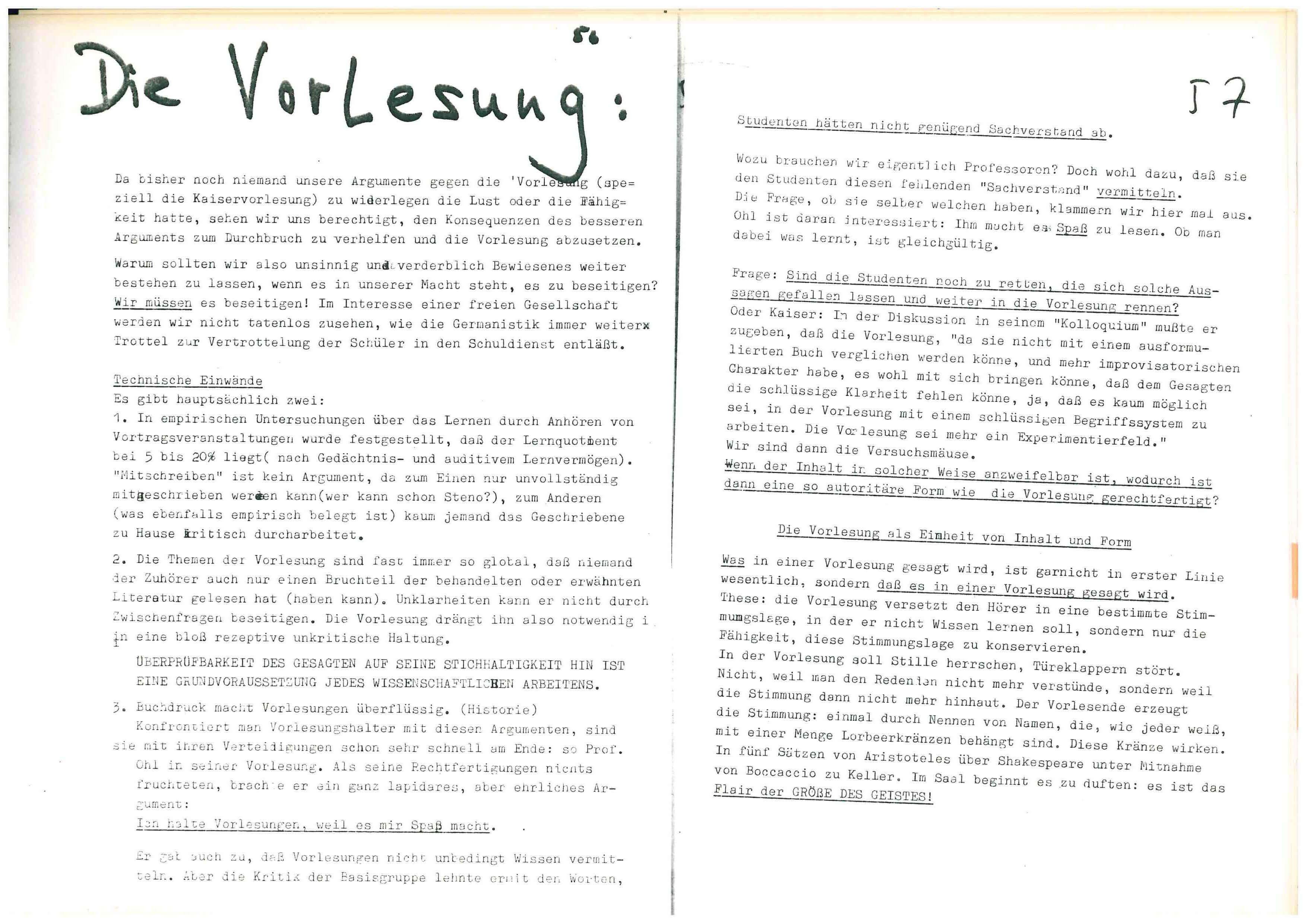 Basisgruppe-Fachschaft-Germanistik (Hrsg.): Institutspolitik Sommer 1969. dokumente, polemik, information, literarische politische analysen, demagie, manipulation, berichte, tatsachen, aufklärung, entschleierungen, lügen, Verallgemeinerungen: Unipolitik, o. O. 1969, S.56f.