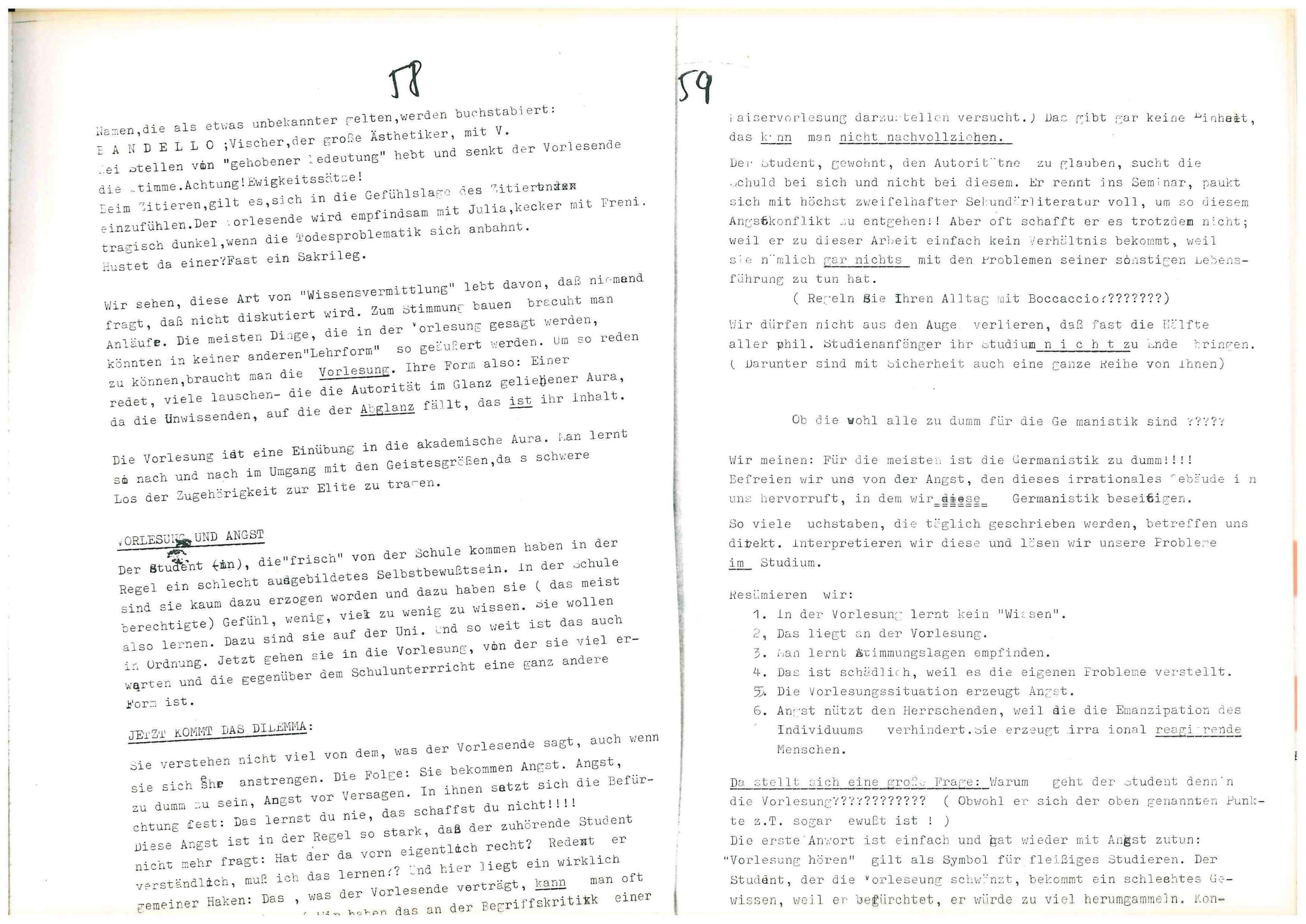 Basisgruppe-Fachschaft-Germanistik (Hrsg.): Institutspolitik Sommer 1969. dokumente, polemik, information, literarische politische analysen, demagie, manipulation, berichte, tatsachen, aufklärung, entschleierungen, lügen, Verallgemeinerungen: Unipolitik, o. O. 1969, S.58f.
