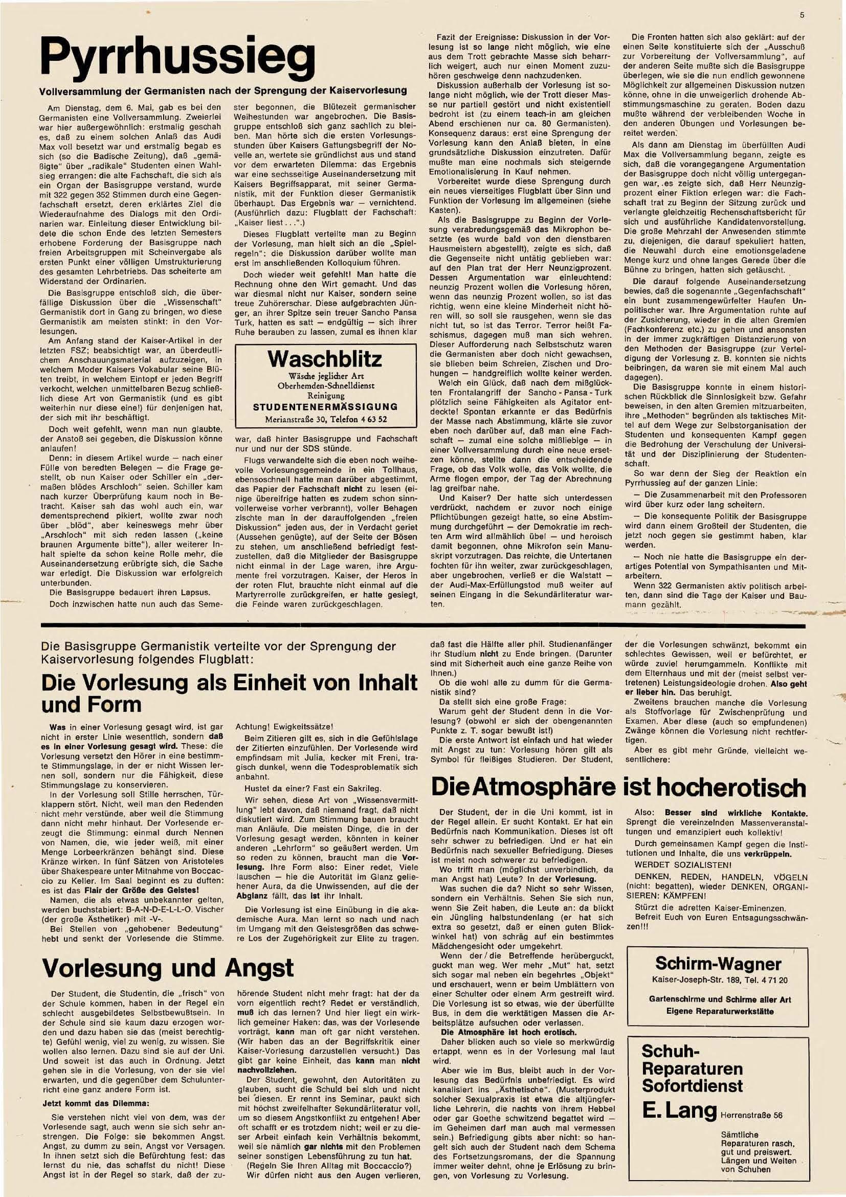 FSZ Nr.4, Mai 1969, o.V., Pyrrhussieg. Vollversammlung der Germanisten nach der Sprengung der Kaiservorlesung, S. 5.