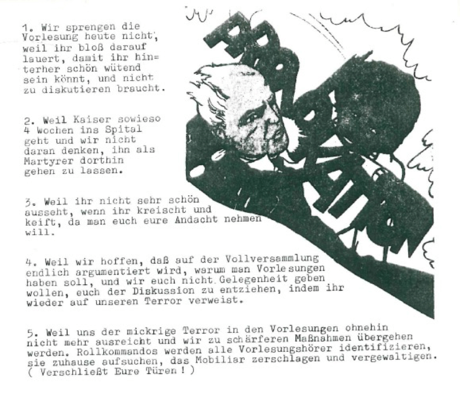 Basisgruppe-Fachschaft-Germanistik (Hrsg.): Institutspolitik Sommer 1969. dokumente, polemik, information, literarische politische analysen, demagie, manipulation, berichte, tatsachen, aufklärung, entschleierungen, lügen, Verallgemeinerungen: Unipolitik, o. O. 1969, S.93.