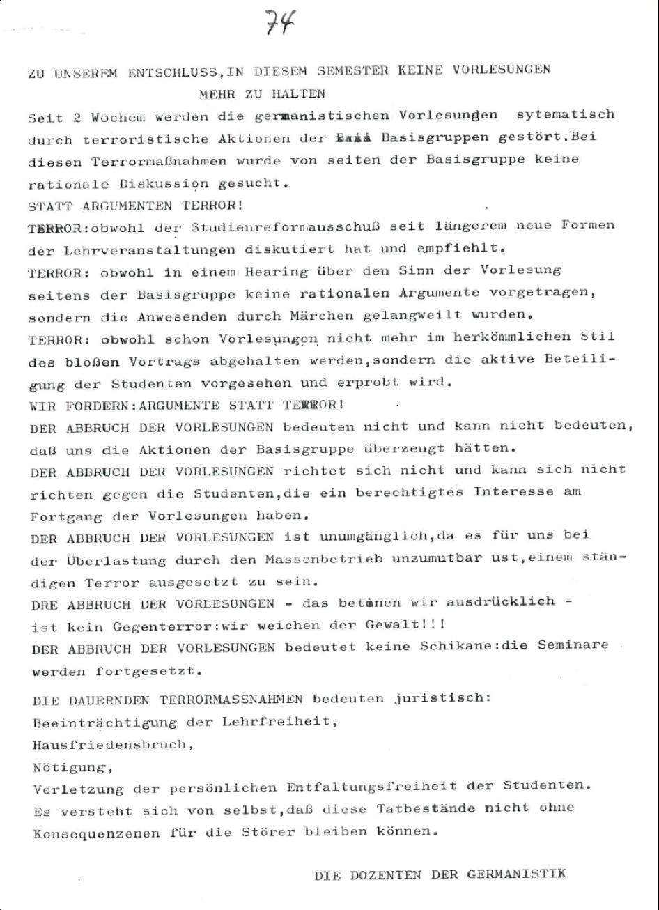 Basisgruppe-Fachschaft-Germanistik (Hrsg.): Institutspolitik Sommer 1969. dokumente, polemik, information, literarische politische analysen, demagie, manipulation, berichte, tatsachen, aufklärung, entschleierungen, lügen, Verallgemeinerungen: Unipolitik, o. O. 1969, S.74.