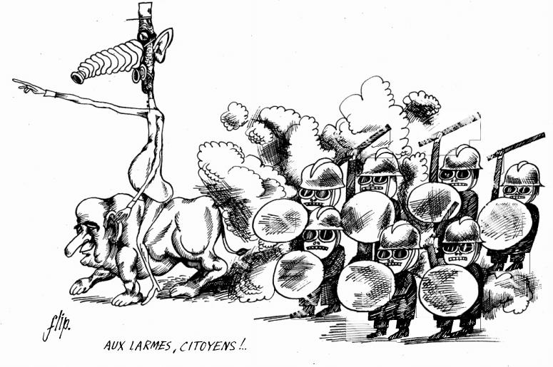Die Karikatur aus dem Artikel in der FSZ zeigt de Gaulle reitend auf Pompidou an der Spitze der Pariser Bereitschaftspolizei.