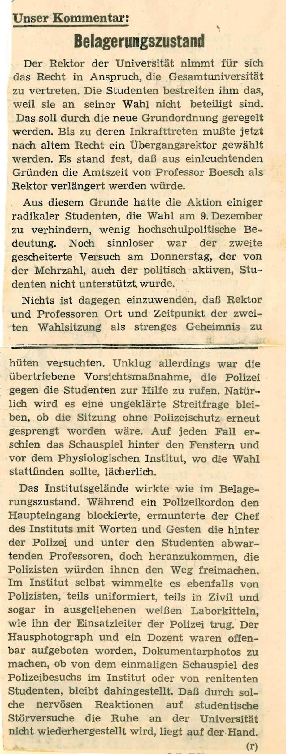 "Abb. 8: Kommentar ""Belagerungszustand"", Badische Zeitung (21./22.12.1968)"